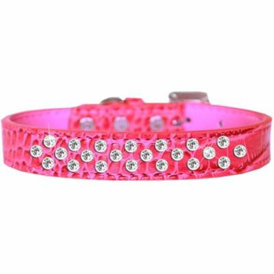 Sprinkles Clear Jewel Croc Dog Collar Bright Pink Size 20