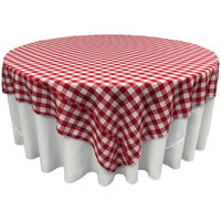 LA Linen TCcheck90x90-RedK98 Polyester Gingham Checkered Square Tablecloth White & Red - 90 x 90 in.