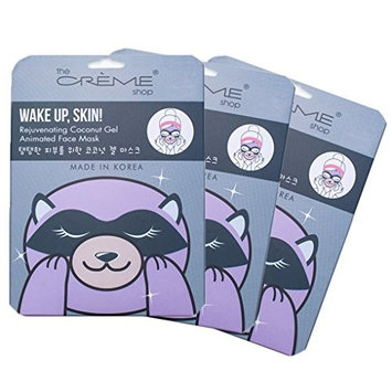 The Crème Shop - Wake Up, Skin! (Raccoon Face Mask) 3 Piece Value Set - Coconut Gel & Hyaluronic Acid
