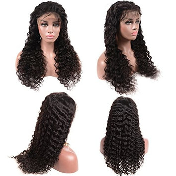 BEAUFOX Beauty Deep wave Full Wig Lace Frontal Wigs Pre Plucked Wig Lace Front With Baby Hair 100% Human Curly Hair For Black Women (14in Front...