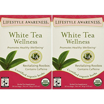 Lifestyle Awareness, White Tea Wellness with Revitalizing Rooibos, Organic, 20 Count / 2 Pack
