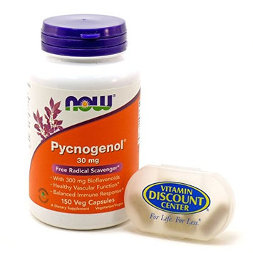 Bundle – 2 Items : 1 bottle of Pycnogenol 30 mg by Now Foods - 150 Capsules and 1 VDC Pill Box