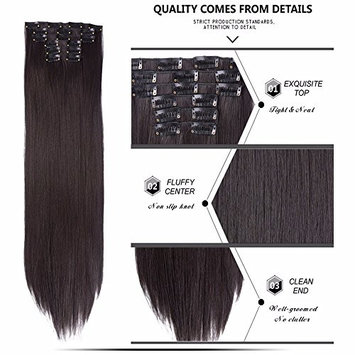 Fashion Women 24 Inches Straight Full Head 6 Separate Pieces Heat Resistance Synthetic Hair Clip in Hair Extensions 140g (4#)