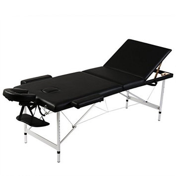 Anself Folding Massage Table Adjustable Facial Bed 3 Fold with Aluminum Frame for Spa Salon