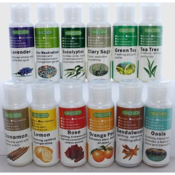 EcoGecko Therapeutic Fragrant Aroma Oil (30 ml) for Water Based Air Purifier Revitalizer Air Freshener, 12 Pack, Assorted
