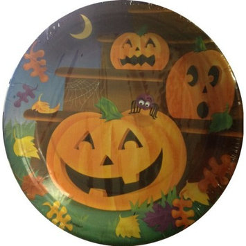 Halloween Birthday Party Supplies (Orange Pumpkins Steps Dessert Plate, 8 Count)