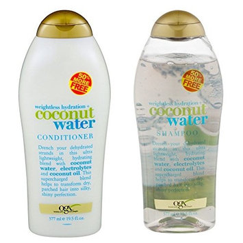 (OGX) Organix weightless hydration COCONUT WATER SHAMPOO & CONDITIONER Set, 19.5 Oz ea. : Beauty