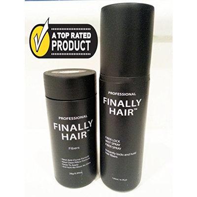 Finally Hair Building Fibers (Red) 28g Bottle of Fibers and Finally Hair 120ml 4.1 oz. Bottle of Fiber Lock Hair Spray