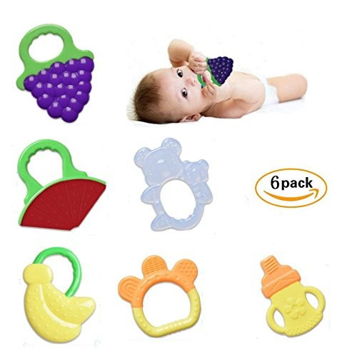 Bagvhandbagro Baby Teething Chew Toys, frozen toys Safe Teether,FDA Approved, No BPA, Latex, or Phthalates, Soft and Chewy(6 Pack)