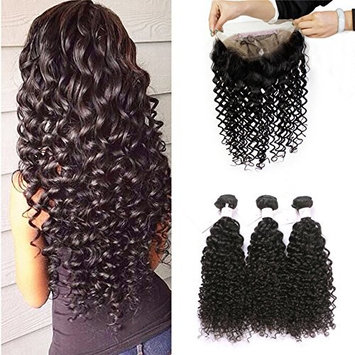BEEOS Hair Pre Plucked 360 Lace Frontal with Bundles Deep Wave 8A Grade Brazilian Human Hair Weft with Baby Hair For Black Women Natural Color (18 20 22+16inch)