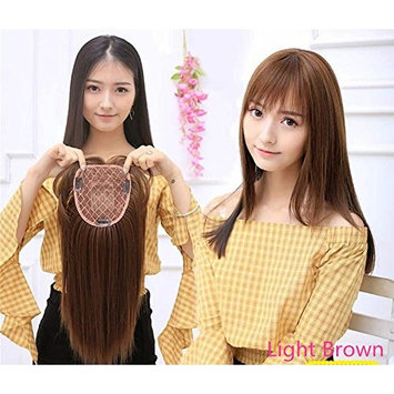Yudit Synthetic Human Hair Mono Hairpiece for Hair Loss Clip in/on Hair Topper with Air Bangs 12 Inches ((Thin style,Light Brown/a combination of 2# and 30#)