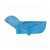 Pitter Patter Packable Dog Rain Poncho - Cyan Halftone Small