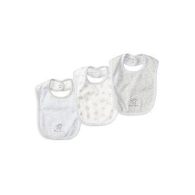 Ralph Lauren Childrenswear 3-Piece Cotton Bib Set, Quartz Heather
