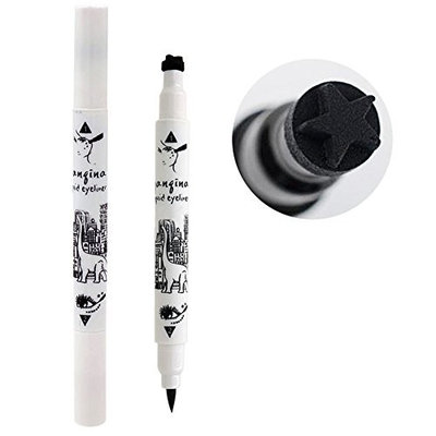 Ragdoll50 Professional Eyeliner Long Lasting Liquid Eyeliner Pencil with Star Heart Shape Stamp Tattoo, Black