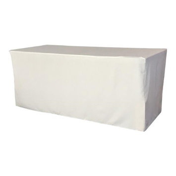 LA Linen TCpop-fit-72x30x30-WhiteP11 2.23 lbs Polyester Poplin Fitted Tablecloth White