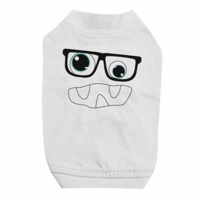 Monster With Glasses White Pet Shirt for Small Dogs