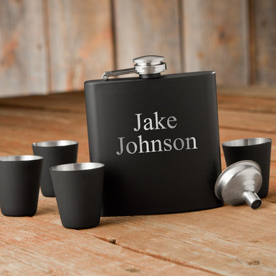 Personalized Flask & Shot Glass Gift Box Set
