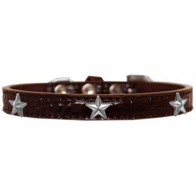 Silver Star Widget Croc Dog Collar Chocolate Size 12
