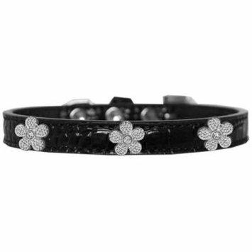 Silver Flower Widget Croc Dog Collar Black Size 12