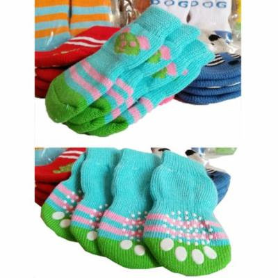 Mosunx 4Pcs Pet Dog Socks Cute Cartoon Dog Non-slip Warm Socks