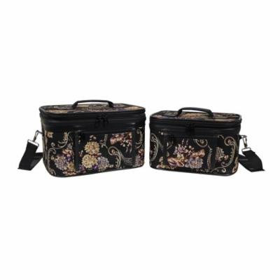 World Traveler Classic Floral 2-Piece Train Cosmetic Case Set
