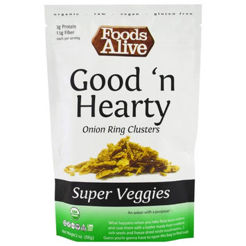 Foods Alive, Super Veggies, Good 'n Hearty, Onion Ring Clusters, 2 oz