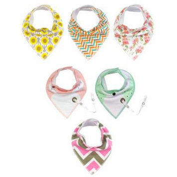 Wrapables® Baby Bandana Drool Bibs with Pacifier/Teether Toy Strap(Set 6), Pretty Pink