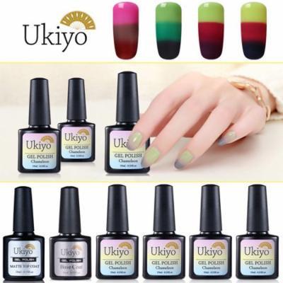 Ukiyo Gel Polish 3 Way Thermal Change 4 Colors Amazing Manicure With No Wipe Gel Top Coat And Base Coat Long Lasting Varnish Set 004