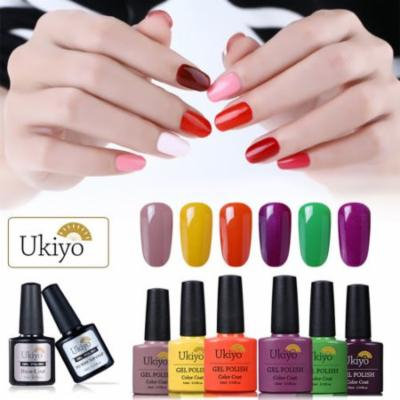 Ukiyo 6 Colors UV LED 10ML Gel Nail Polish + No Wipe Top Coat + Base Coat ,Set 11