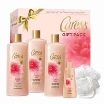 Caress 5-Pc Daily Silk Body Wash Gift Set with BONUS Pouf (3 x Body Wash, Travel Body Wash)