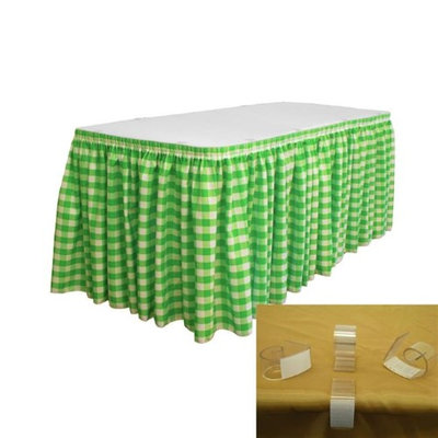 LA Linen SKTcheck14x29-10Lclips-LimeK84 Polyester Gingham Checkered Table Skirt with 10 L-Clips White & Lime - 14 ft. x 29 in.