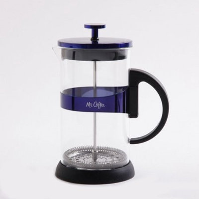 Gibson Overseas, Inc. Mr. Coffee Max Brew 32oz Glass Coffee Press, Blue, Specialty