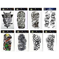 Grashine tattoo 8pcs arm long last and realistic temp tattoo stickers in 1 packages,including arm tattoo,owl,skull,totem for men and women