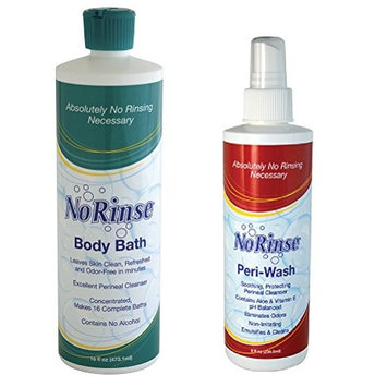 (Set) No Rinse 16 Ounce Body Bath and 8 Fl Ounce Peri-Wash Bathing Products by CloseoutZone : Beauty