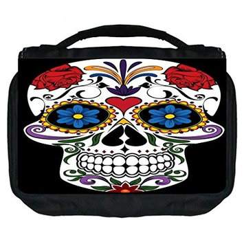 Sugar Skull Design TM Small Travel Sized Hanging Cosmetic/Toiletry Case with 3 Compartments and Detachable Hanger-Made in the U.S.A.