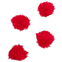 Lux Accessories Red Faux Fur Valentines Day Pom Pom Hair Clip Set (4PCS)