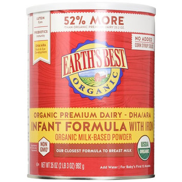 Earth's Best Baby Organic Infant Formula with Iron 35 Ounce (Pack of 4)