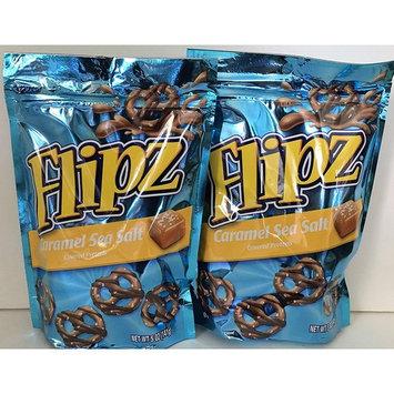 Flipz Caramel Sea Salt Covered Pretzels 5 Ounce Bag (2 Pack)