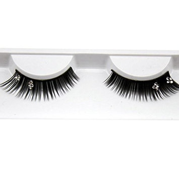 False Eyelashes,Elevin(TM)1Pair Women Ladies Soft Simulation Rhinestones Bride Wedding Party Stage Fake Eyelashes