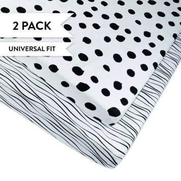 Pack n Play Playard Sheet Portable Crib Sheet Set 2 Pack Black and White Abstract Stripes and Dots by Ely's & Co