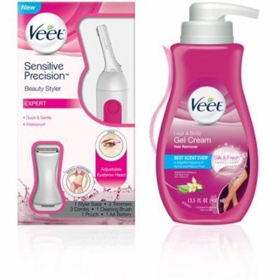 VEET Sensitive Hair Removal Kit With Gel Cream (13.5oz) & Precision Trimmer Beauty Styler for Eyebrows, Facial Hair, Bik