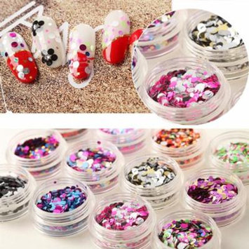 12 Colors/Set Shiny Round Glitter Sequins Nail Art Decoration Manicure Accessory