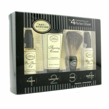 Starter Kit - Unscented: Pre Shave Oil + Shaving Cream + Brush + After Shave Balm-4pcs