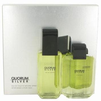 Quorum Silver by Puig Gift Set -- 3.4oz Eau De Toilette + 3.4oz After Shave