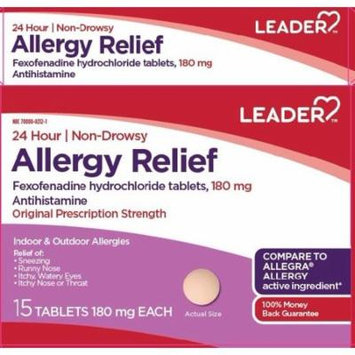 Leader 24-Hour Allergy Relief Tablets, 180mg, 15ct 096295130683A735