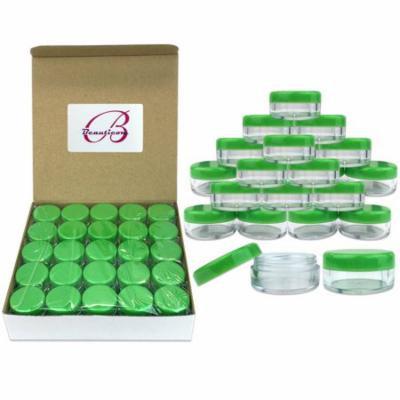Beauticom 200 Pieces High Quality 5 Gram 5 ml (0.17 oz) Plastic Round Cosmetic Beauty Makeup Sample Jars (Green Lid)