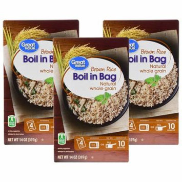 (3 Pack) Great Value Boil In Bag Brown Rice, 14 oz, 4 Count