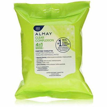 Almay Clear Complexion Face Towelettes, 25 Count (Pack of 8)