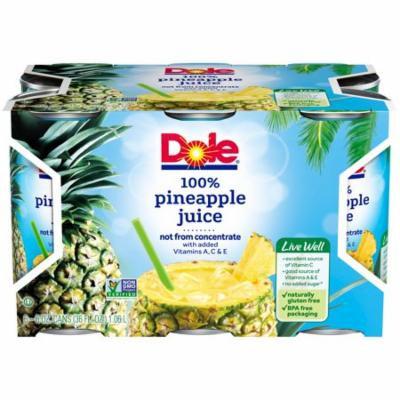 (8 Pack) DOLE 100% Pineapple Juice 6-6 fl. oz. Cans