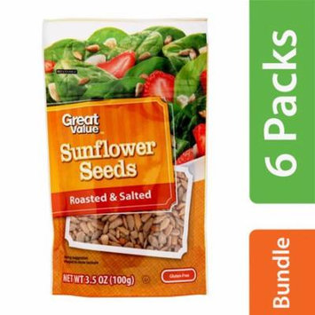 (6 Pack) Great Value Roasted & Salted Sunflower Seeds, 3.5 oz